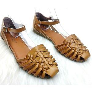 American Eagle Cognac Faux Leather Huarache Sandal